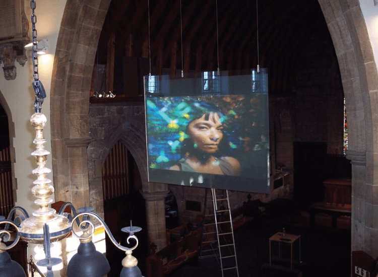 Rear Projection Switchable Smart Glass Screen in a church switched to on