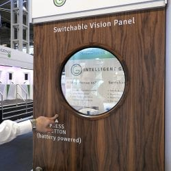 Intelligent Glass vision panel ON and clear