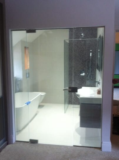 Bathroom privacy smart glass door switched to on