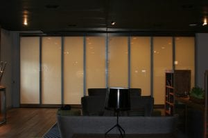 Switchable smart glass bifold doors - switched off frosted