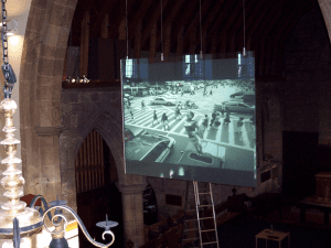 rear projection switchable smart glass screen in church