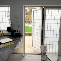 Switchable smart glass double glazing - switched off frosted