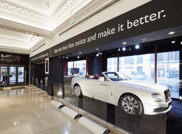 Harrods Smart Glass Window display for Rolls Royce