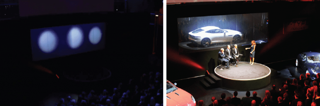 A Switchable Screen used by Jaguar during the launch of the F-Type