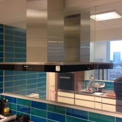 Switchable smart glass kitchen window close up - switched on clear