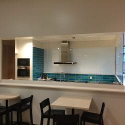 Switchable smart glass kitchen divider - switched off frosted