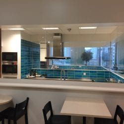 Switchable smart glass kitchen divider - switched on clear