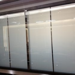 Switchable smart glass office - switched off frosted