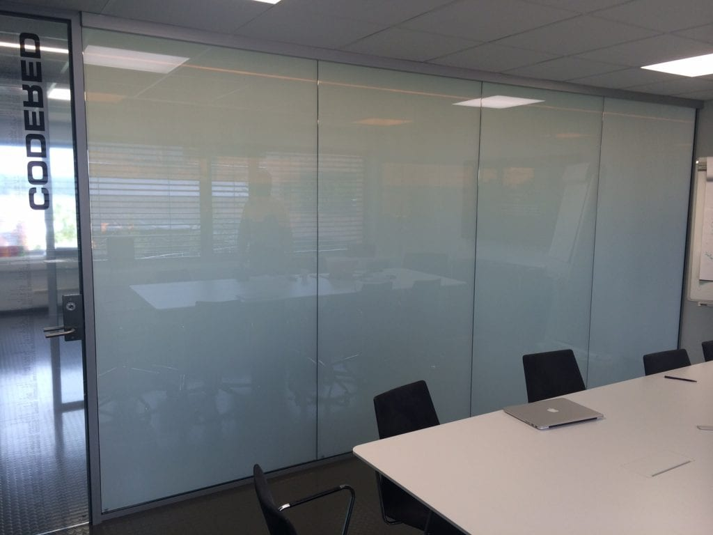 Switchable smart glass office partition - switched off frosted