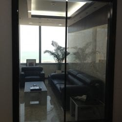 Switchable smart glass reception window - switched on clear