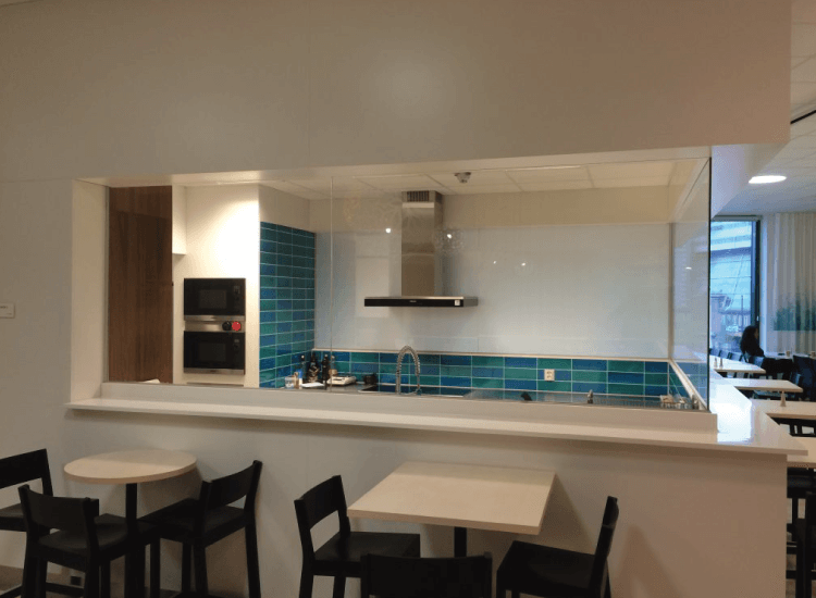 Restaurant kitchen Switchable Smart Glass switched to off