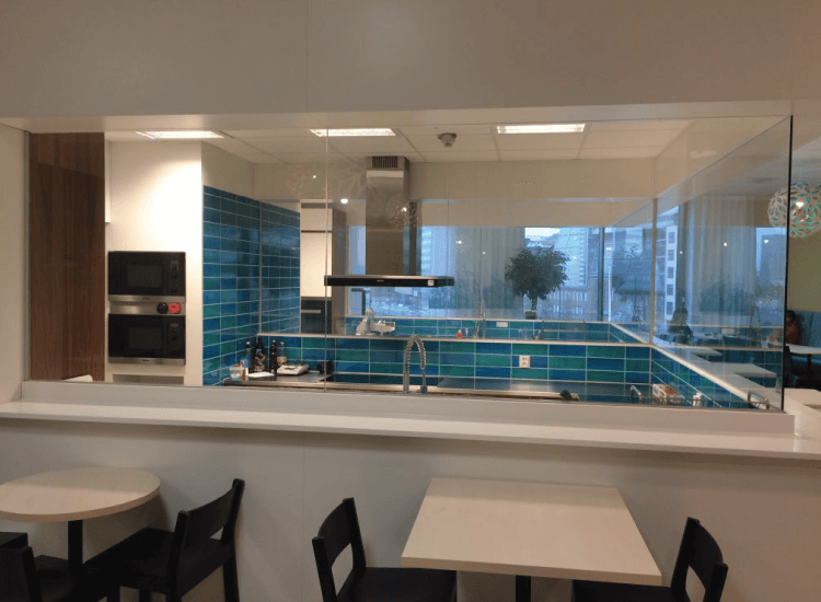 Restaurant kitchen Switchable Smart Glass switched to on
