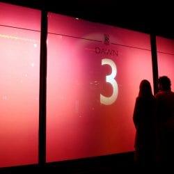 Smart Glass Harrods countdown on rear projection smart glass screen