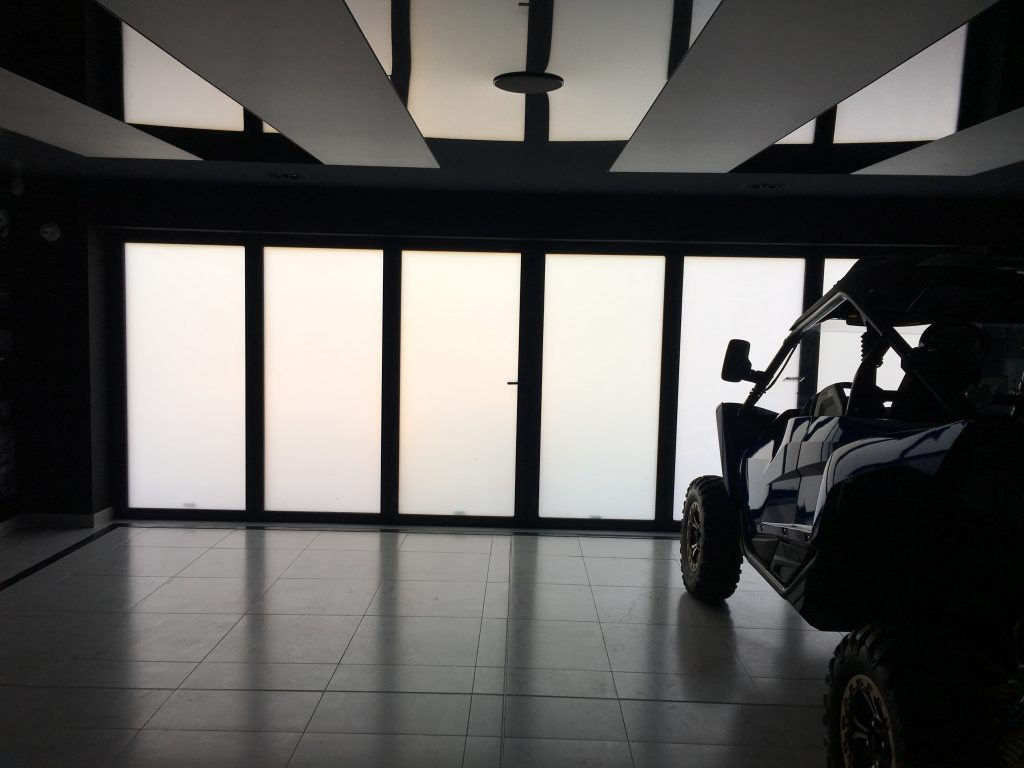 switchable smart glass garage switched to off
